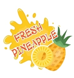 Fresh pineapple splash icon logo sticker Fruit vector