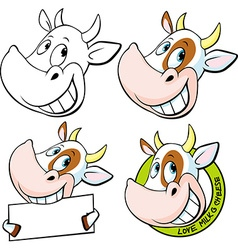 Funny cow head - vector