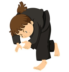 Girl in black outfit doing judo vector
