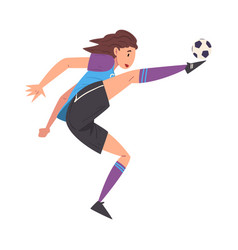 girl playing soccer female football player vector image