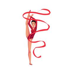 Girl standing in vertical leg split rhythmic vector