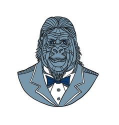 Gorilla tuxedo jacket monoline color vector