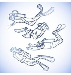 Graphic set of scuba divers vector image