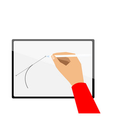 hand drawing on new tablet vector image