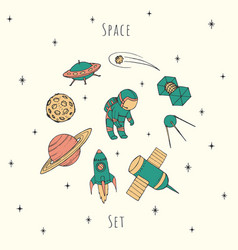 hand drawn space elements cosmonaut satellites vector image