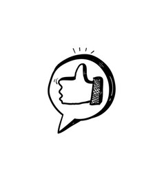 hand drawn thumb up symbol for like button icon vector image