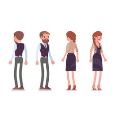 Handsome male and pretty female office employee vector