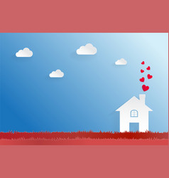 happiness loving home paper cut design concept vector image