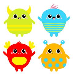 Happy halloween monster icon set baby icon cute vector