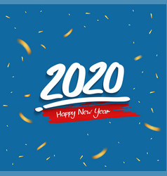 Happy new year 2020 white number with glitter vector
