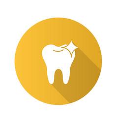 healthy shining tooth flat design long shadow vector image