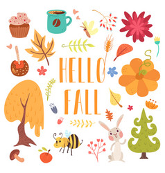 Hello fall cute cartoon autumn set vector