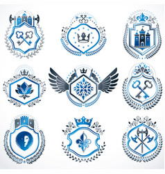 Heraldic decorative emblems made with royal vector