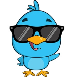 Hipster Bird Cartoon with Sunglasses vector image