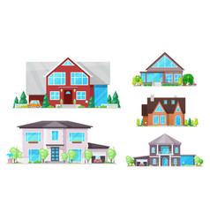 house home cottage buildings with roofs windows vector image