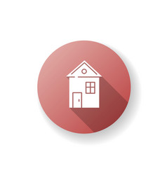 House red flat design long shadow glyph icon vector