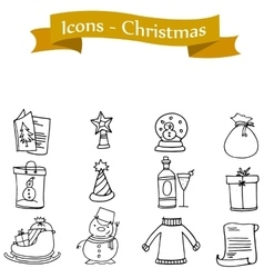 Icon holiday and Christmas collection vector