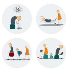 Icon set family in depression vector