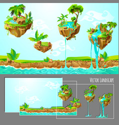 Isometric game tropical nature landscape template vector