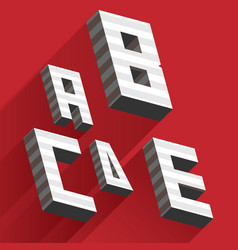 Isometric letters a b c d e drawn with stripes vector