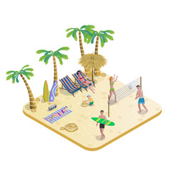 Isometric people on tropical beach concept vector