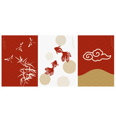 Japanese background with asian icons and symbol vector