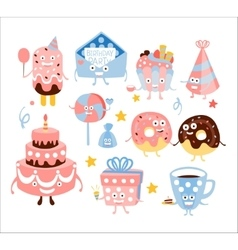 Kid Birthday Party Sweets And Attributes vector