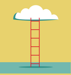 Ladder leading to cloud vector