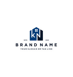 Letter kn home logo design vector