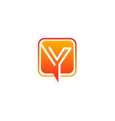 letter y media chat modern logo vector image