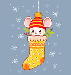 little cute mouse sitting in a christmas sock on a vector image