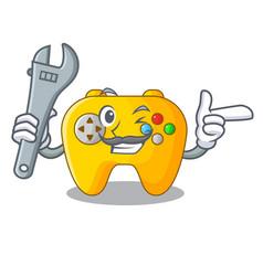 Mechanic retro computer game control on mascot vector