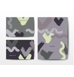 Modern grunge brush postcards colorful vector