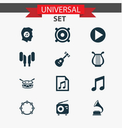Multimedia icons set collection of lyre vector