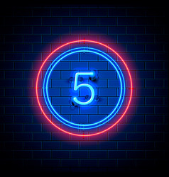 neon city font sign number 5 vector image