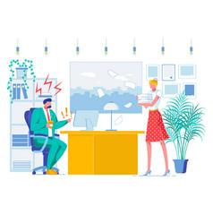 Office job subordination flat vector