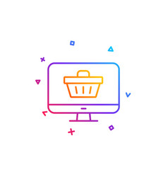 online shopping cart line icon monitor sign vector image