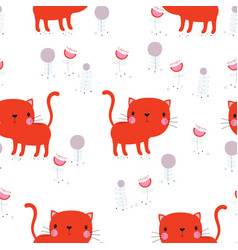 pattern with cat vector image