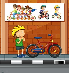 People riding bicycle on the road vector