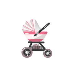 pink baby stroller for baby girl vector image