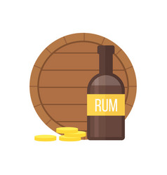 pirate rum bottle and barrel vector image