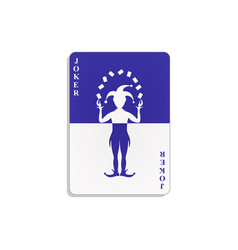 playing card with joker in blue and white design vector image