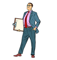 pop art businessman with clipboard vector image