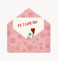 postcard with a message ps i love you vector image