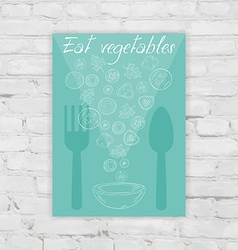 Poster with sliced vegetables fork spoon and bowl vector
