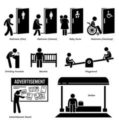 public amenities and facilities such as toilet vector image