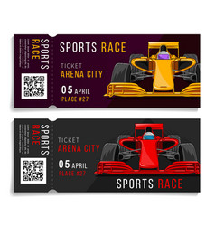 Race tickets with sport car layout vector