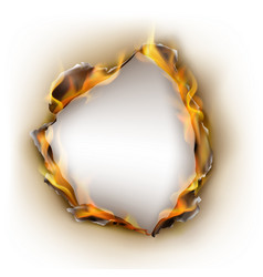 realistic burnt paper flames in circle vector image