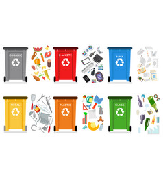 Recycling garbage can trash container separation vector
