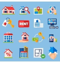 Rent and tenancy icons set vector image